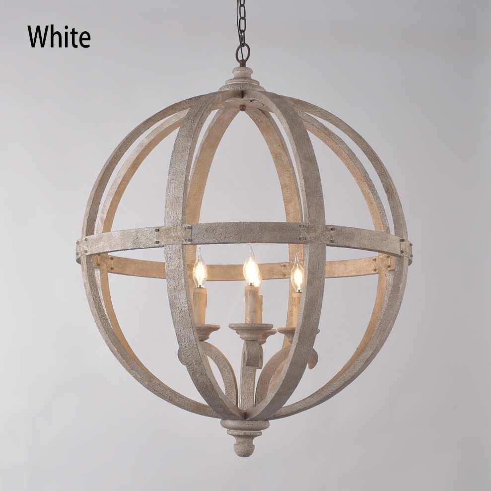 Rustic Style 4 Light Wooden Globe Chandelier Vintage Candle Style Ceiling Light In White Distressed Finish Ceiling Lights Rustic Chandelier Globe Chandelier