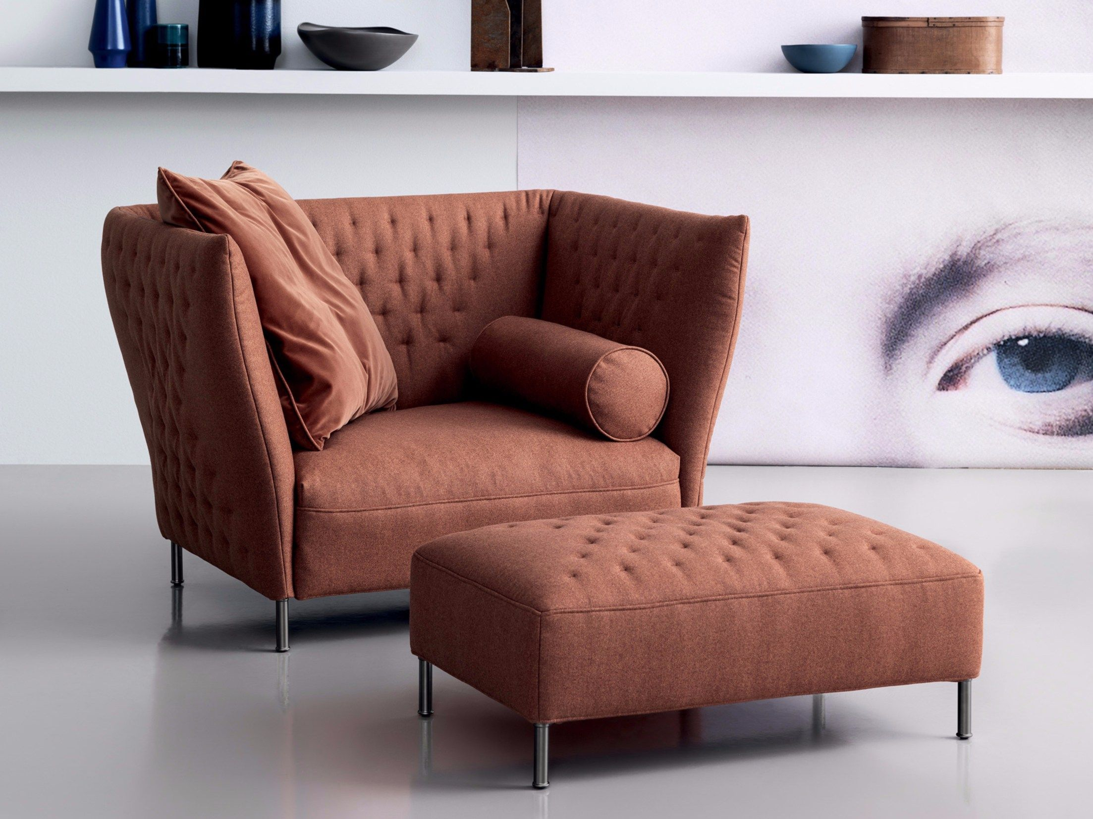 Download The Catalogue And Request Prices Of Quilt   Armchair By Saba  Italia, Upholstered Fabric