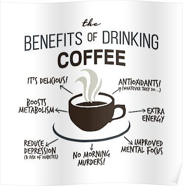 'Benefits of Coffee' Poster by RecoveryGift