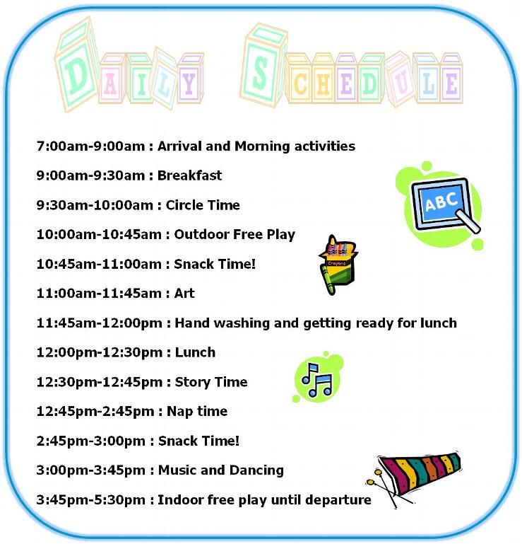 Preschool daily schedule home daily schedule tuition for Kindergarten timetable template