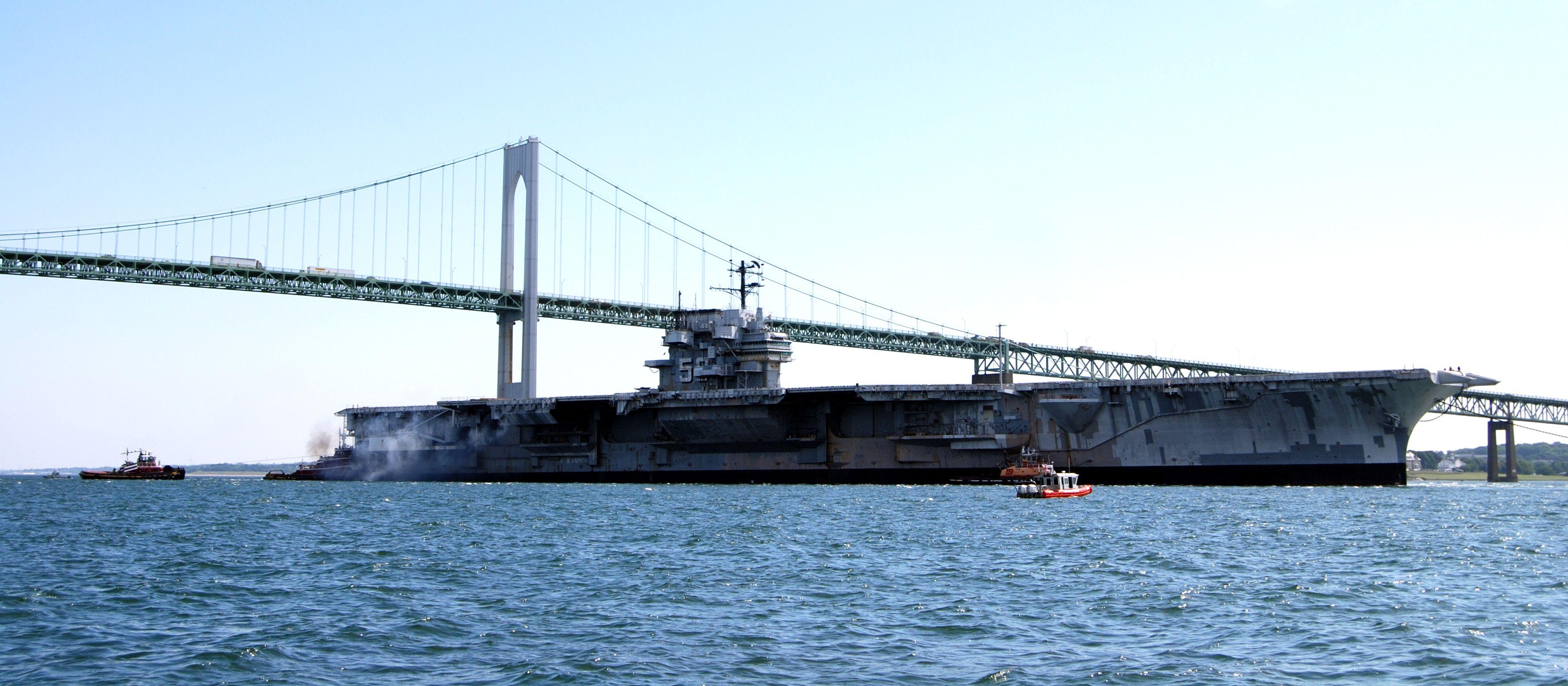 Looks like Yorktown class carrier in San Francisco harbor