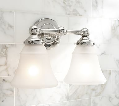 Sussex Sconce Double Polished Nickel Finish Bath Powder Room - Double sconce bathroom lighting