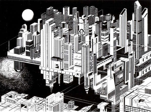 optical illusion cityscapes perspective illusions and art deco - Perspectives Deco