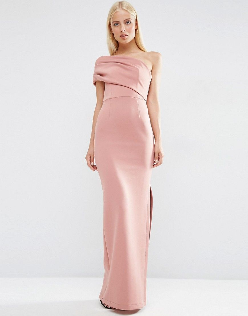 Image 1 of ASOS One Shoulder Scuba Deep Fold Maxi Dress with Exposed ...