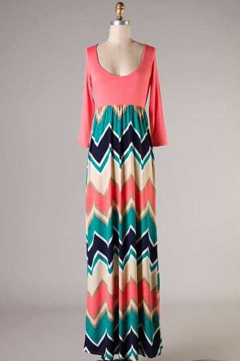 Uptown Chevron Maxi Dress - Also in Plus Size | Fashonista ...