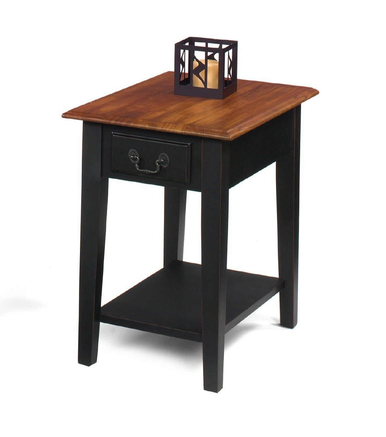 Best Cherry And Black Solid Wood End Side Table With Drawer 400 x 300