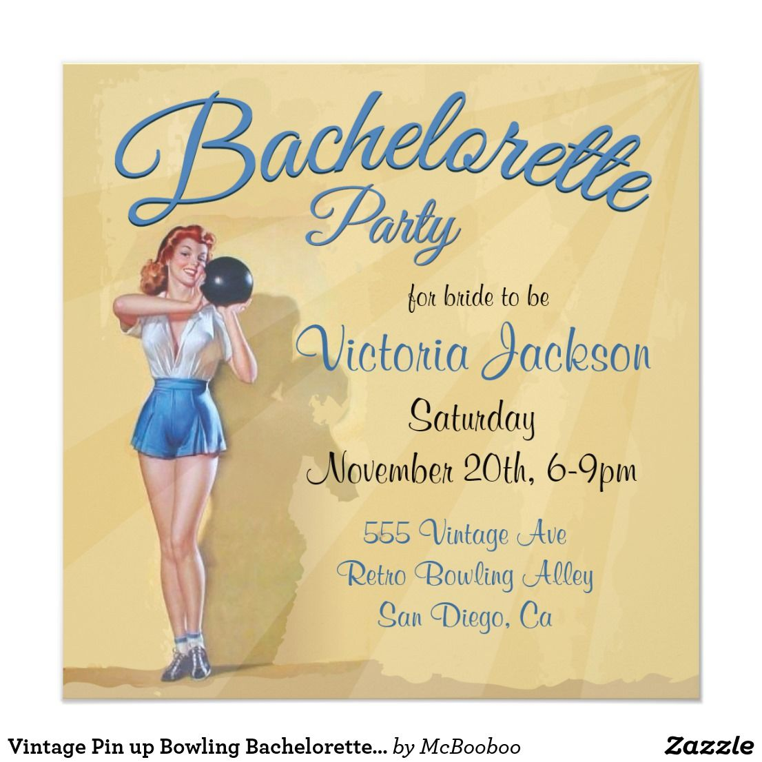 Vintage Pin up Bowling Bachelorette Party Card | Hen nights and Wedding