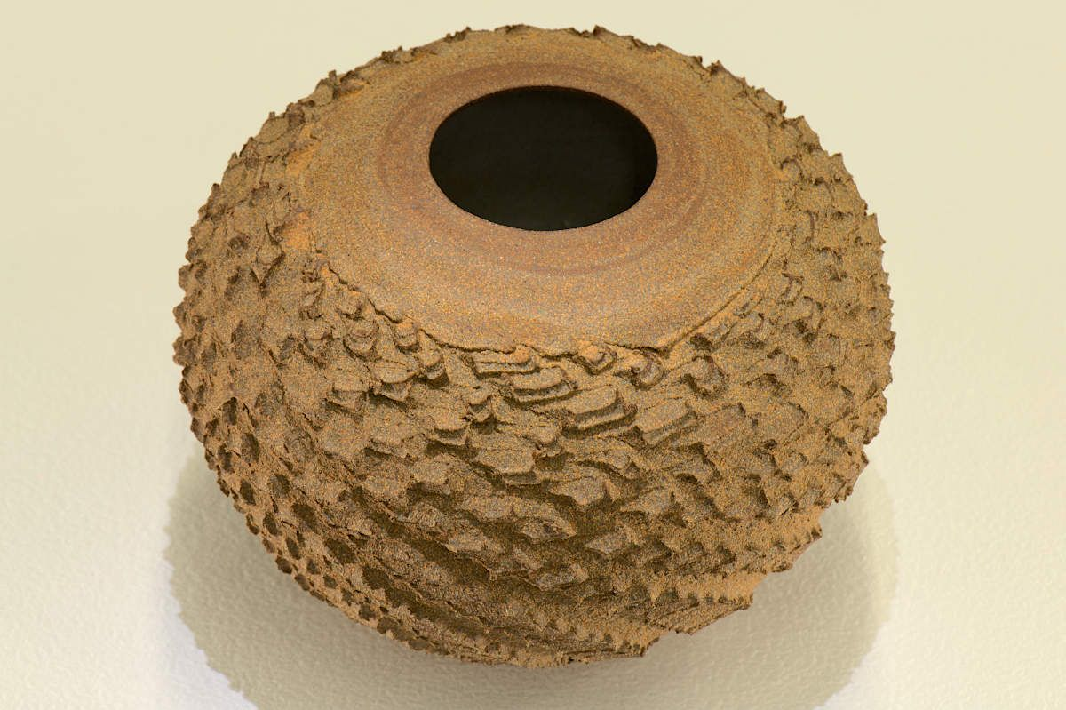 Peter Biddulph - Deeply Textured Spherical Vase Wheel Thrown and Altered. Fired in reduction to 1280. Unglazed exterior, watertight.
