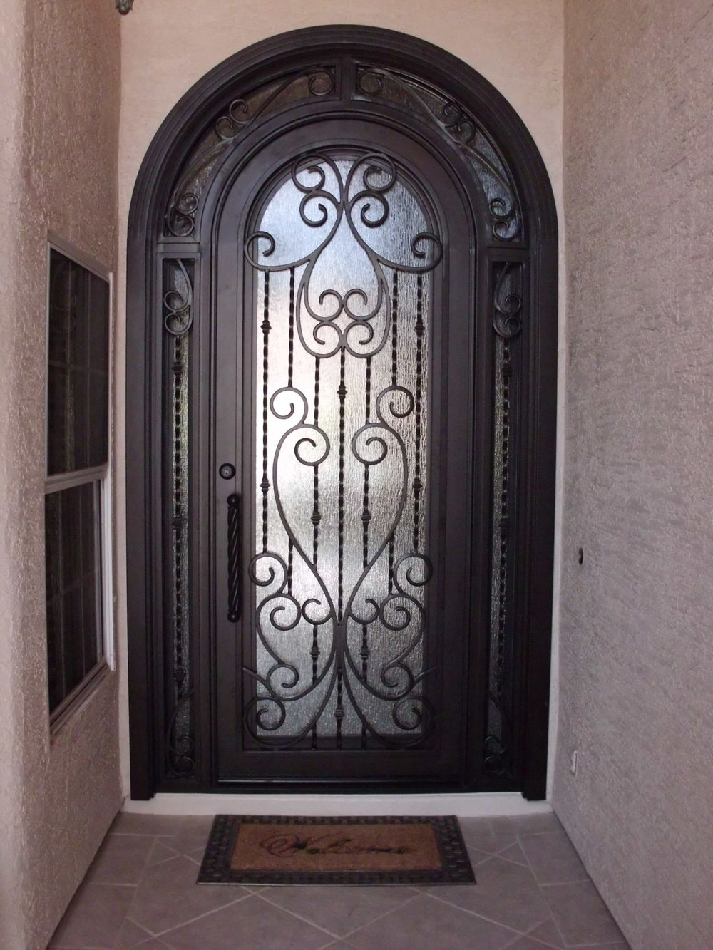 Interior Steel Security Doors With Wrought Iron Decorative