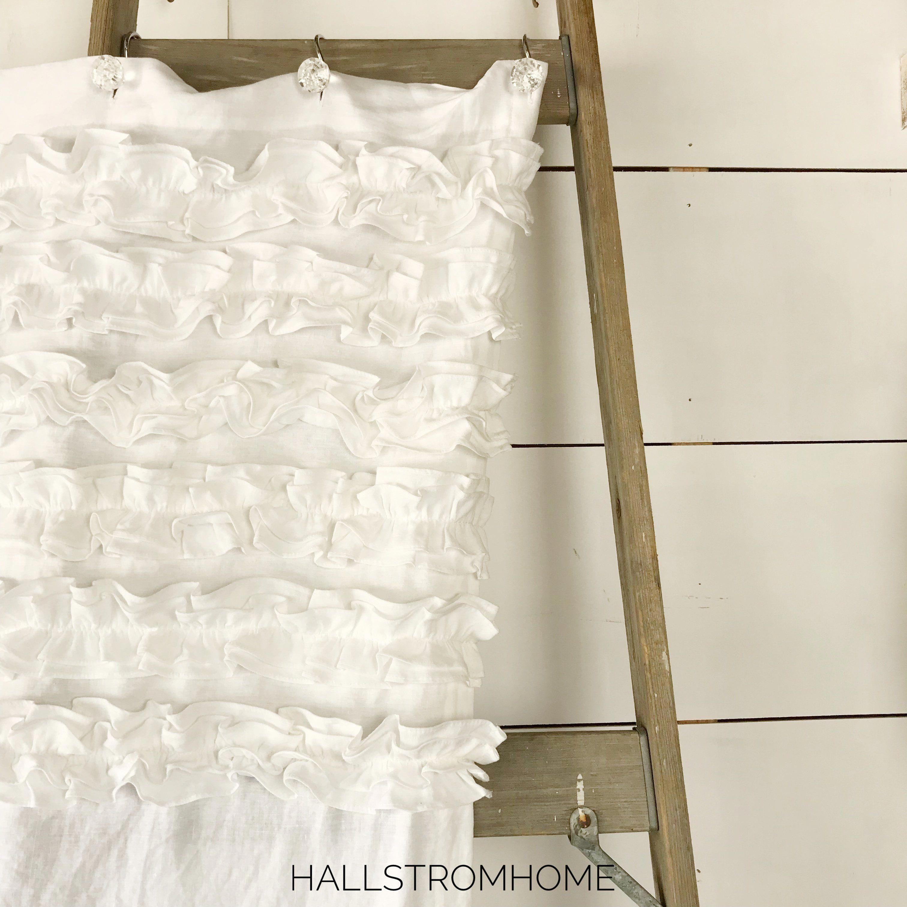 White Six Ruffle Shabby Chic Linen Shower Curtain