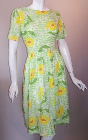 Sunflower Print Whipped Cream Nylon Dress circa 1960s