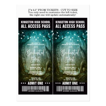 Enchanted Forest Prom Admission Tickets Template Postcard Ticket - prom ticket template