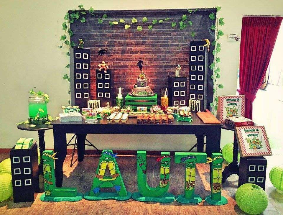 Ninja Turtles Birthday Party Ideas Photo 1 Of 36 Ninja Turtles Birthday Party Ninja Party Decorations Turtle Birthday Parties