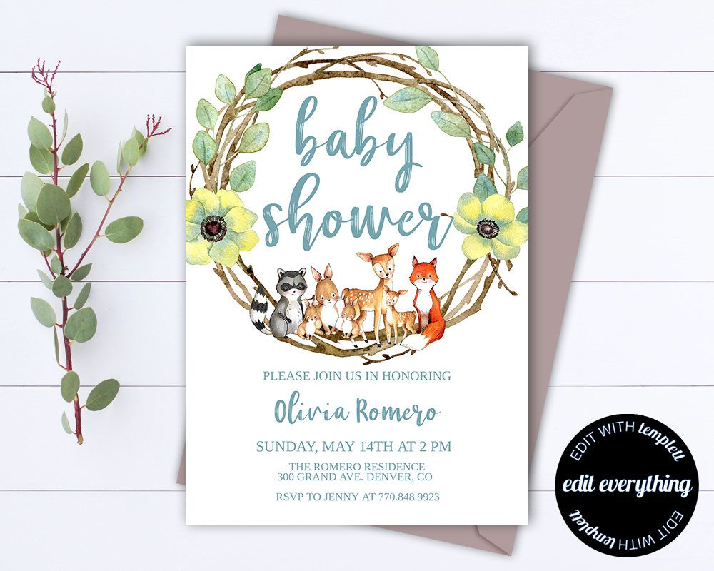 Baby Shower Invitation Template Girl Baby Shower Invite Woodland - Animal baby shower invitations templates