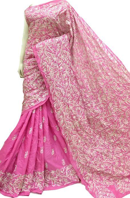 06771e22889 Pink Pure Silk Embroidered Kantha Saree Kantha Stitch