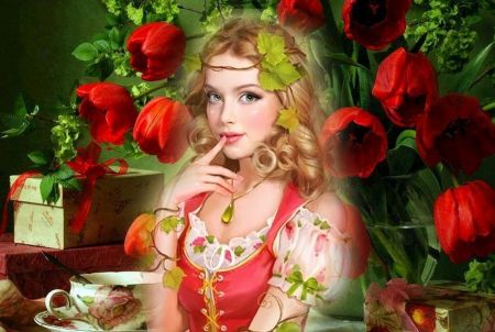 Girl and Red Tulips - 3D and CG Wallpaper ID 1640348 - Desktop Nexus Abstract