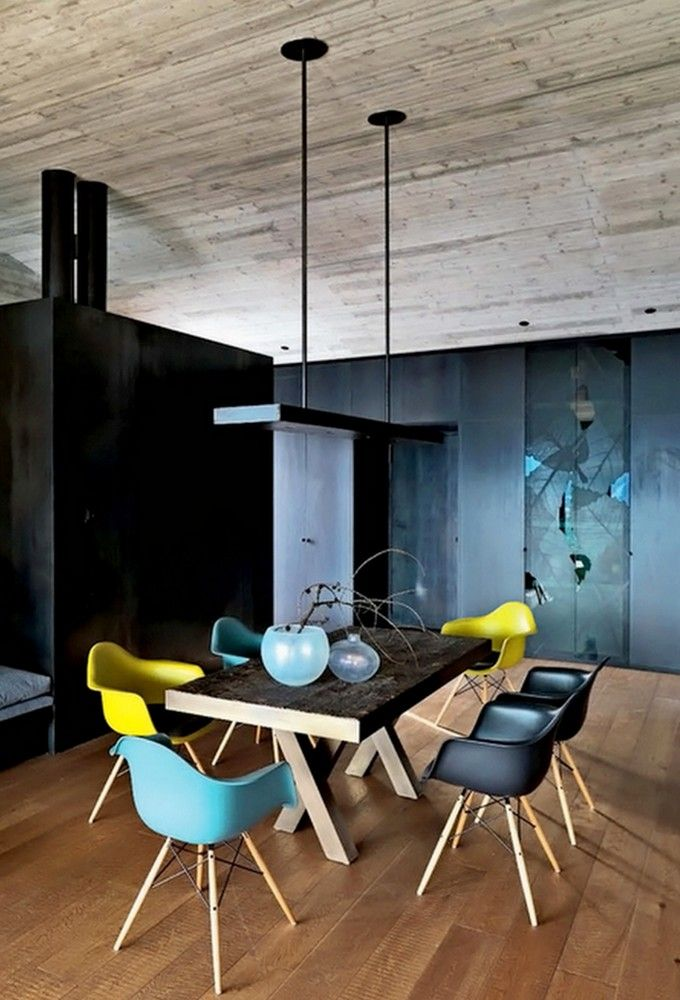 why not mix and match colourful daw eames dining chairs shown here in mustard ocean and basic dark modern dining room