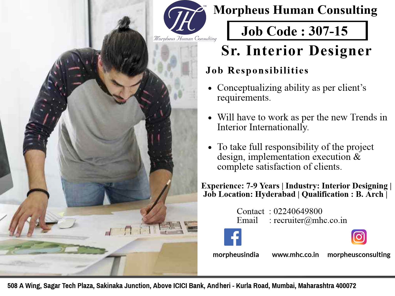 We Are Looking For A Sr Interior Designer In Hyderabad For A