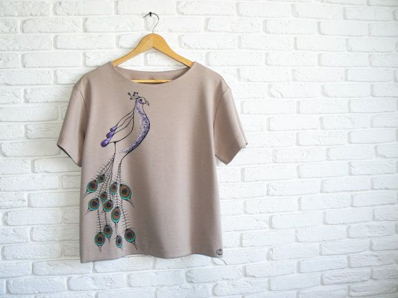 Beige Blouse with Peacock Oversized T shirt by ClothesWithSoul