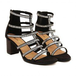Party Women's Sandals With Rivets and Zip Design