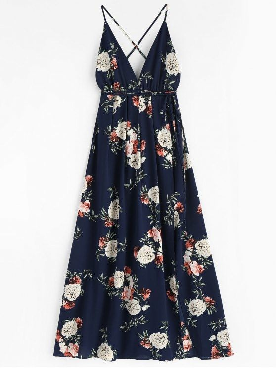 8ca9881145 Floral Print Backless Maxi Dress. An eye-catching romantic color accents  this maxi dress