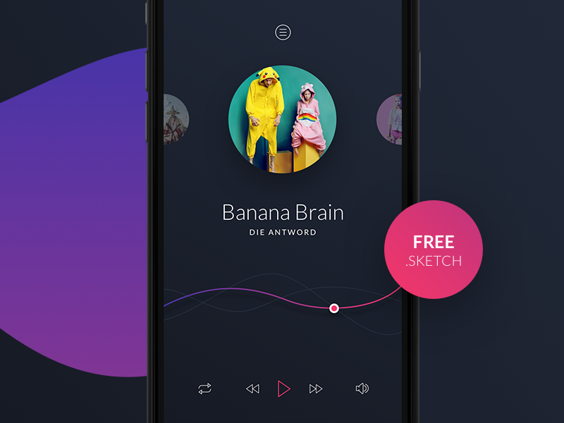 Freebie Music Player For Sketch Music Players Web App Design