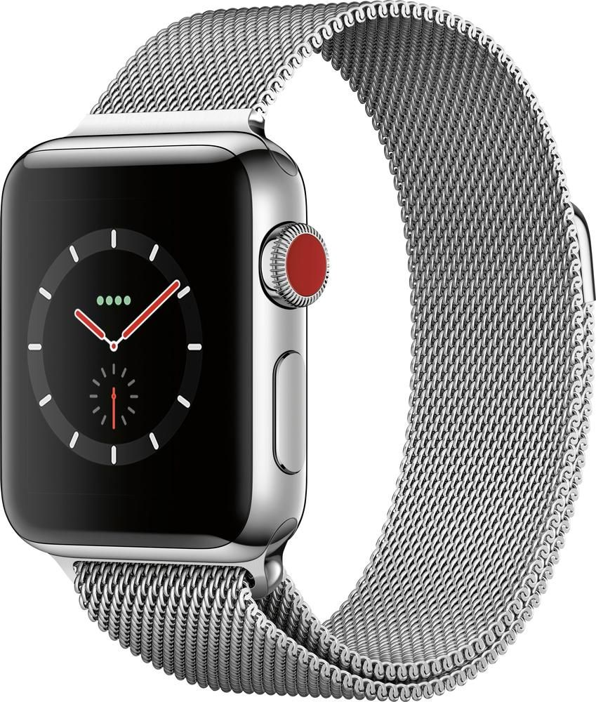huge discount 7089a 3befe Apple - Apple Watch Series 3 (GPS + Cellular) 38mm Stainless Steel ...