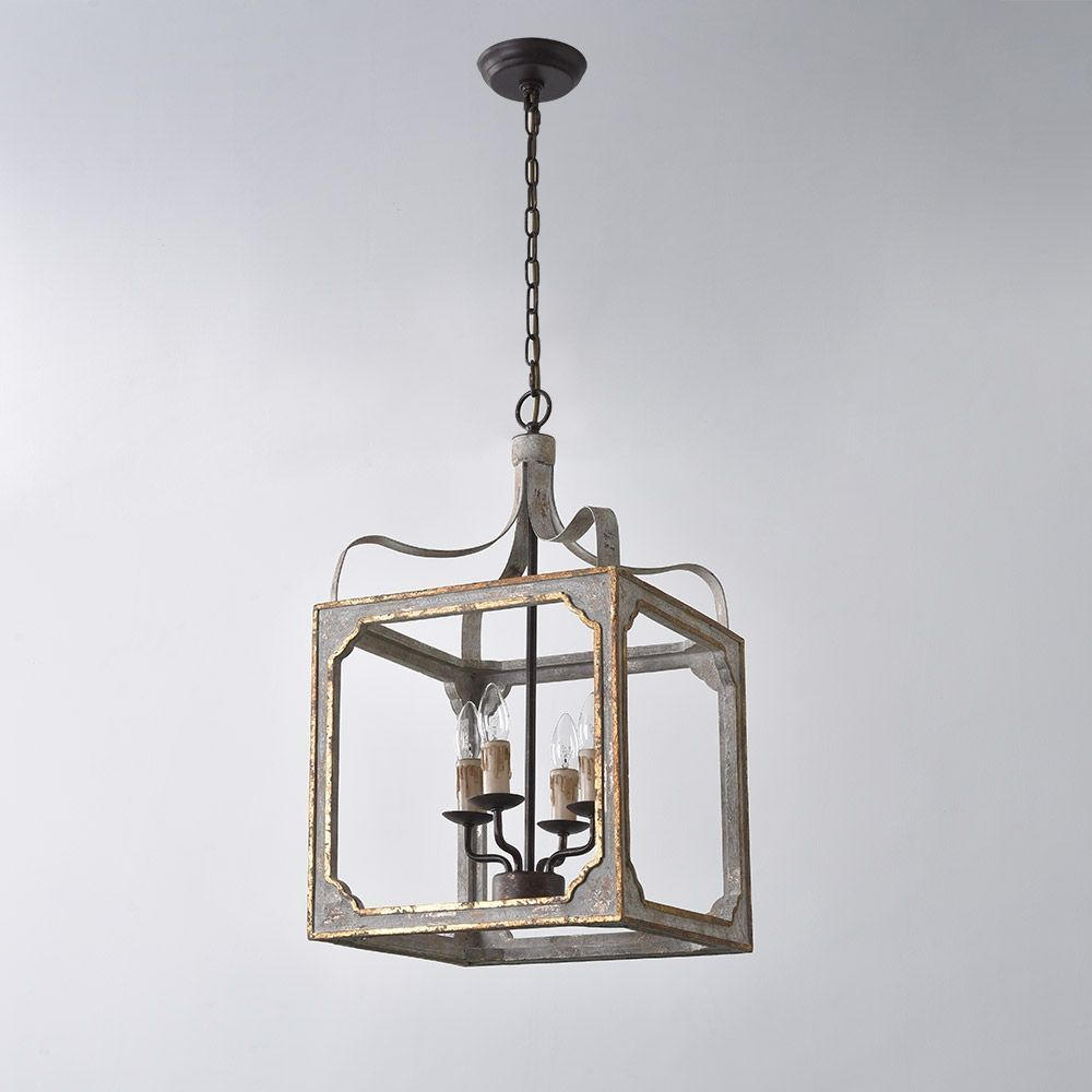 French Country 4 Light Square Lantern Chandelier Metal And Wood In Antique Gray Antique Gold In 2021 Lantern Chandelier Country Pendant Lighting Chandelier