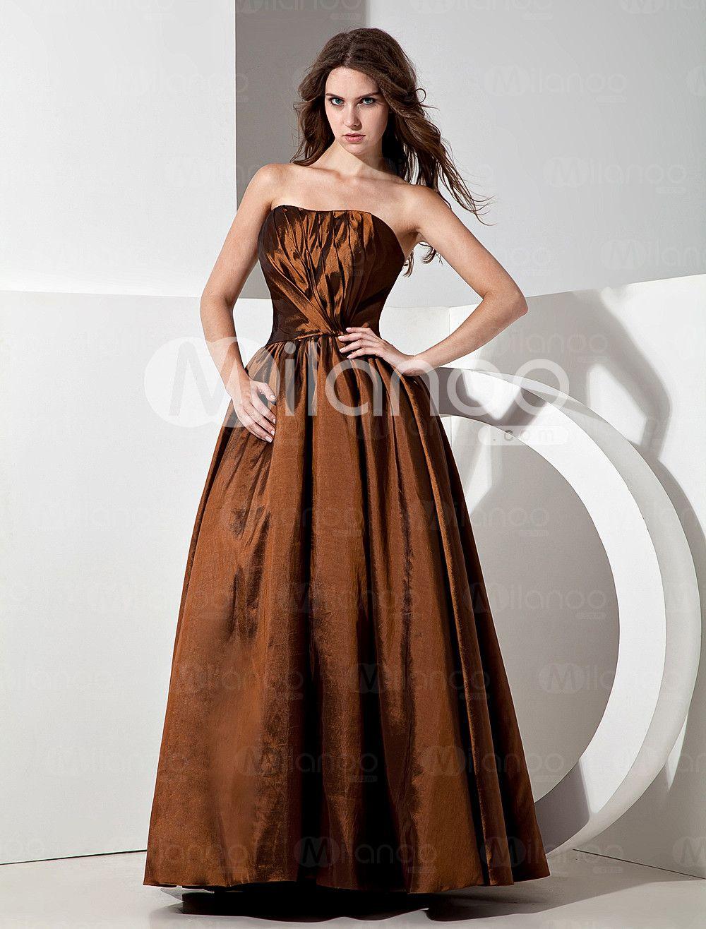Vintage Chocolate Satin Strapless Floor Length Bridesmaid Dress - Milanoo.com