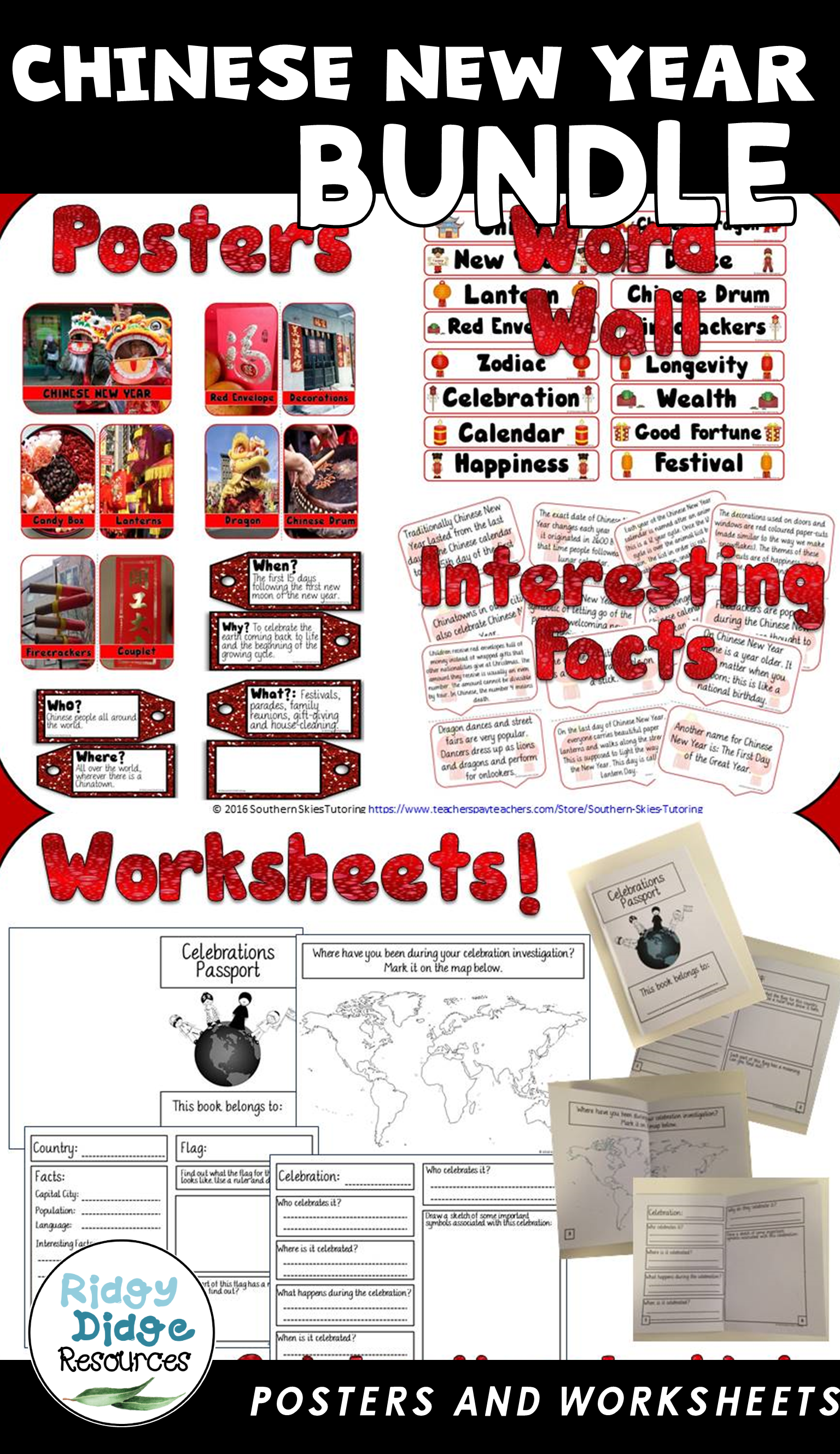 chinese new year posters word wall and student booklet
