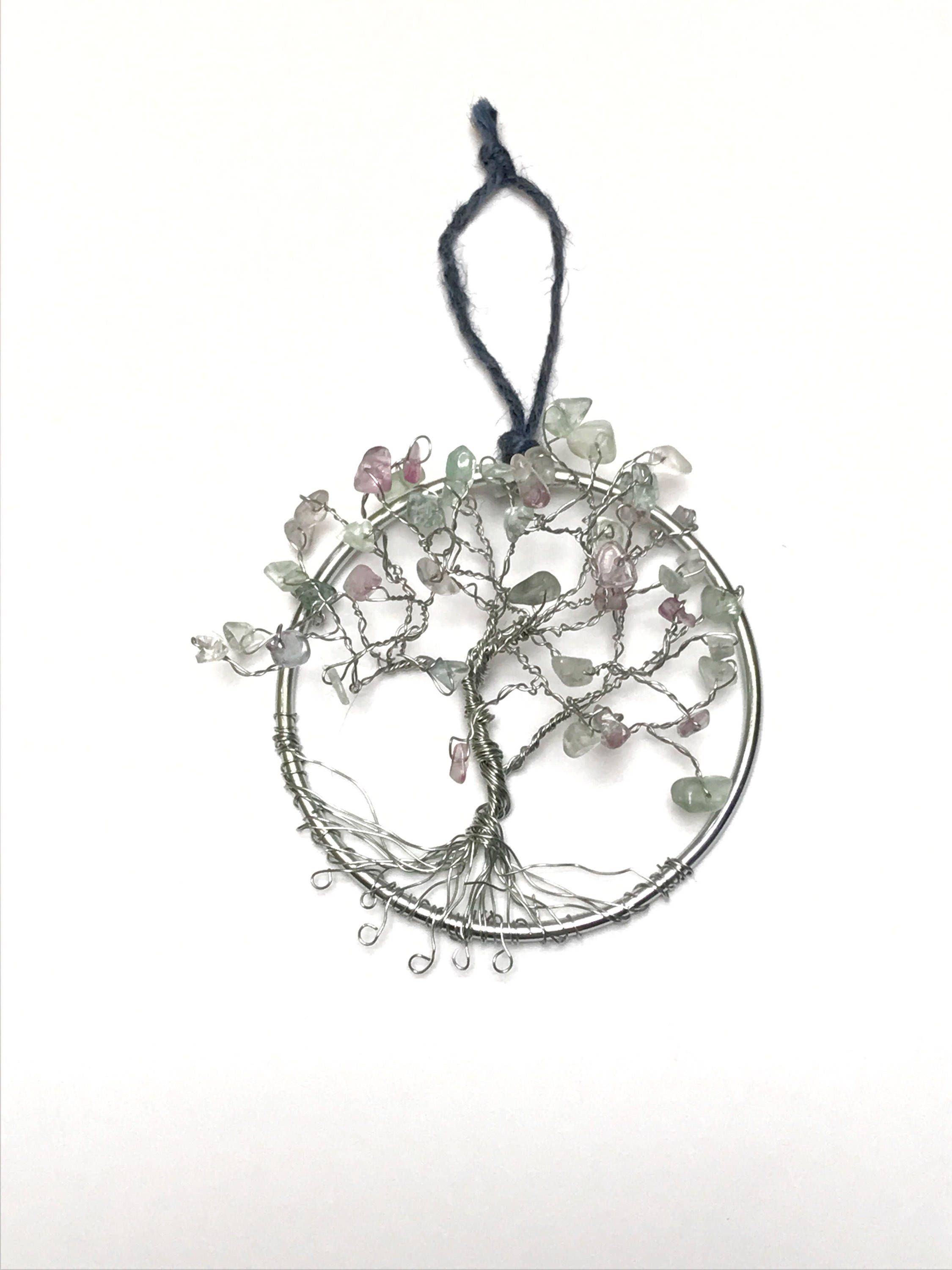 fluorite tree suncatcher  wire tree of life  small office