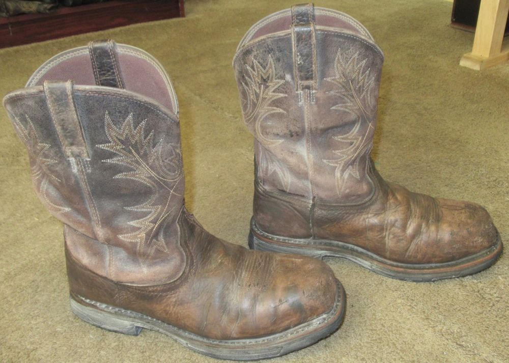 146ecb78100 Mens ARIAT Workhog Wide Square Toe H2O CT Leather Work Boots sz 10 ...