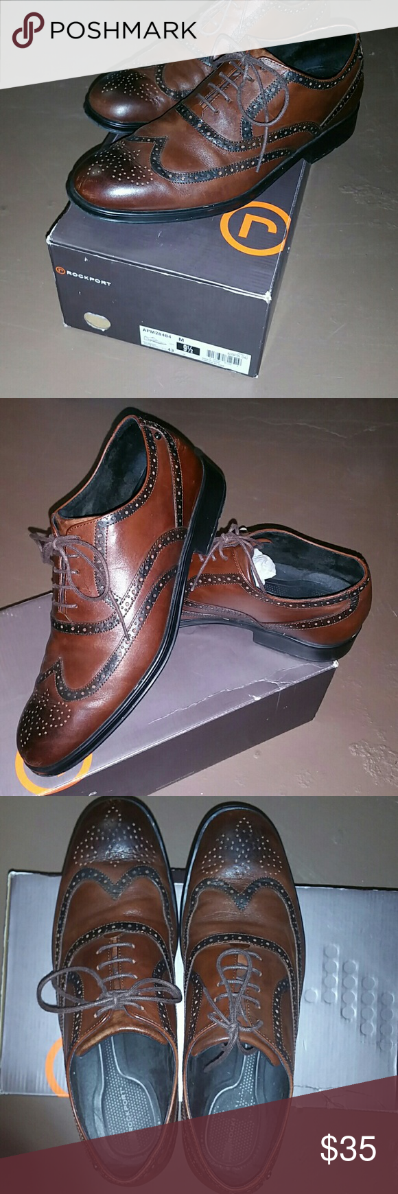 Rockport mahogany wingtips These red Brown mahogany wingtips with black edging and shining toes are spectacularly sharp. Clean with very little wear got for my wedding look great on size Mens 9.5 fits 10 Rockport Shoes Oxfords & Derbys