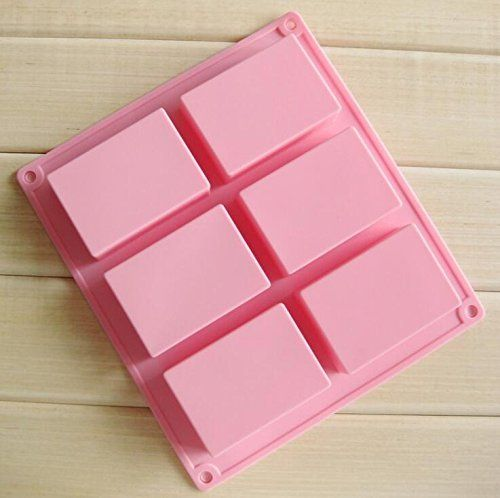 Silicone 6-Cavity Square Soap Mold Homemade Craft Cake Ice Cube Mould DIY Tray