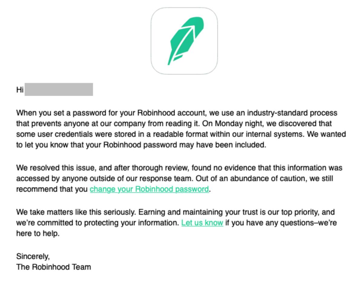 Stock Trader Robinhood Stored Passwords in Plaintext