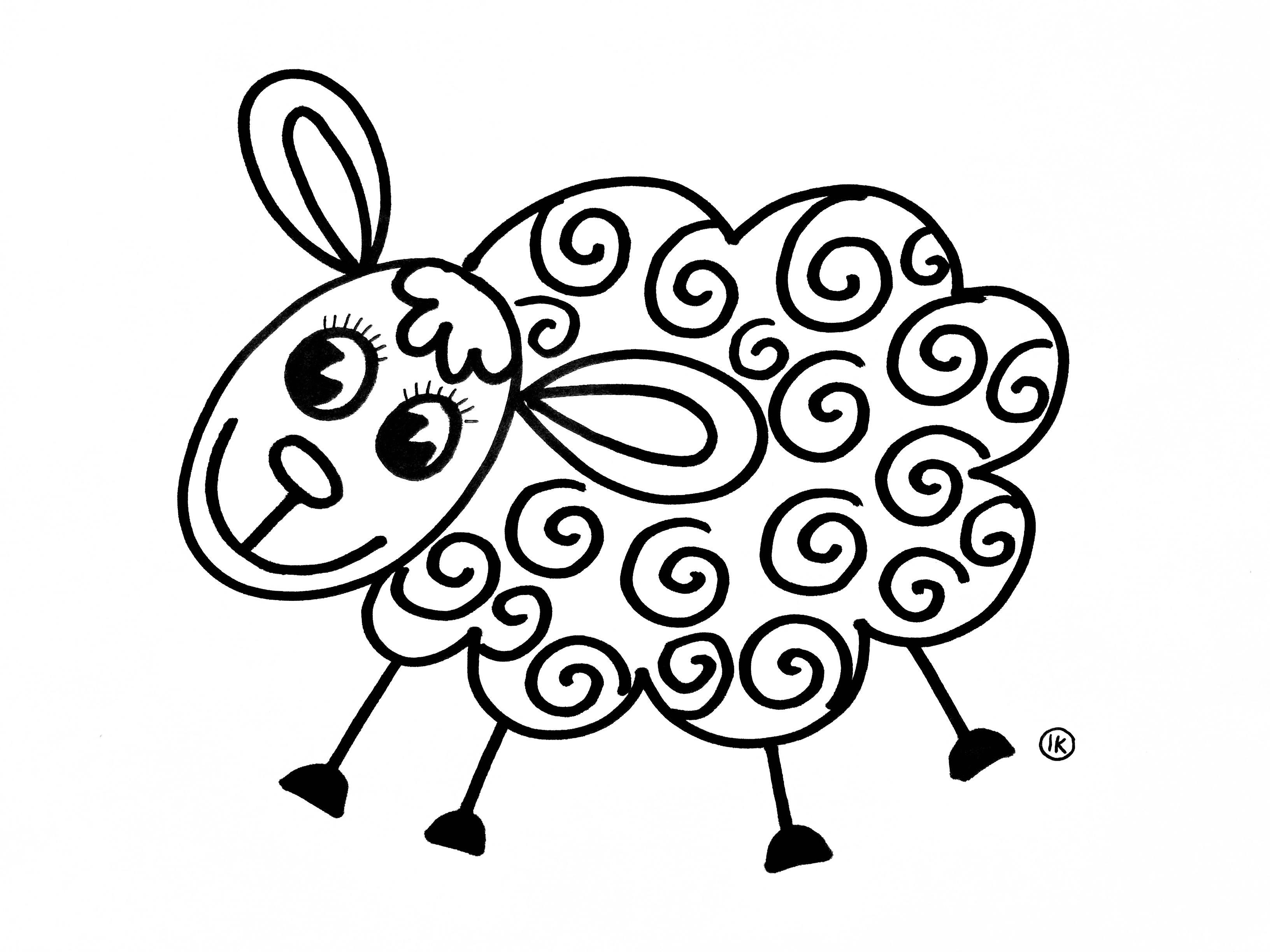 Coloring Sheep Spring Tinkering Creative Coloringpages Coloringpage De Knutseljuf Ede Easy Drawings Sheep And Lamb Embroidery Patterns