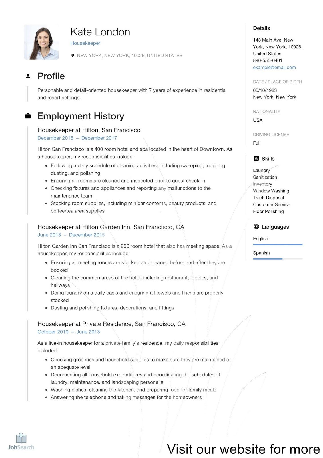 Housekeeping Description For Resume 2021 Housekeeping