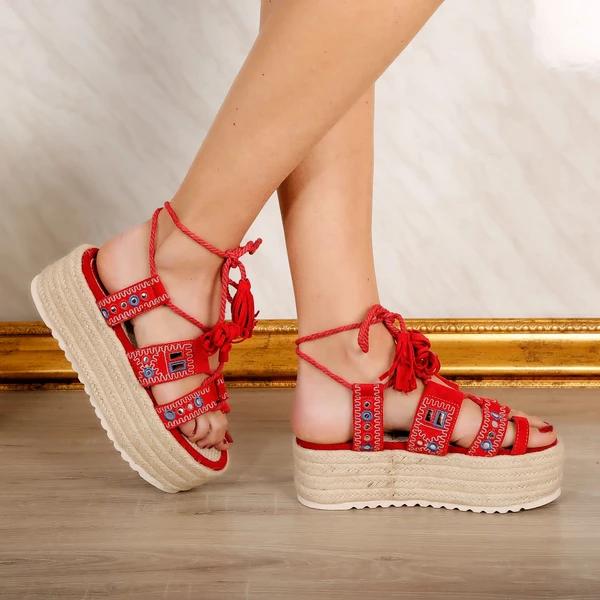Material Piele Intoarsa Ecologica Platforma 6 5cm Shoes Fashion Accessories Sandal Espadrille