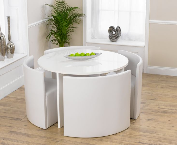 Oslo white high gloss round stowaway dining table with 4 for Small space table and chair set