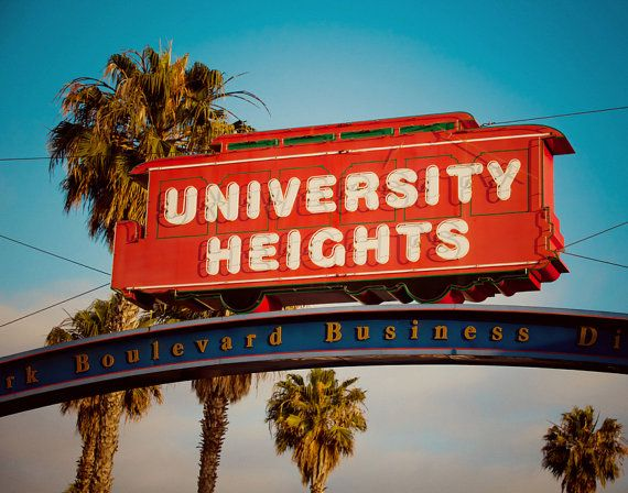 university heights trolley car neon sign san diego home decor housewarming gift sign art fine art photography - San Diego Home Decor
