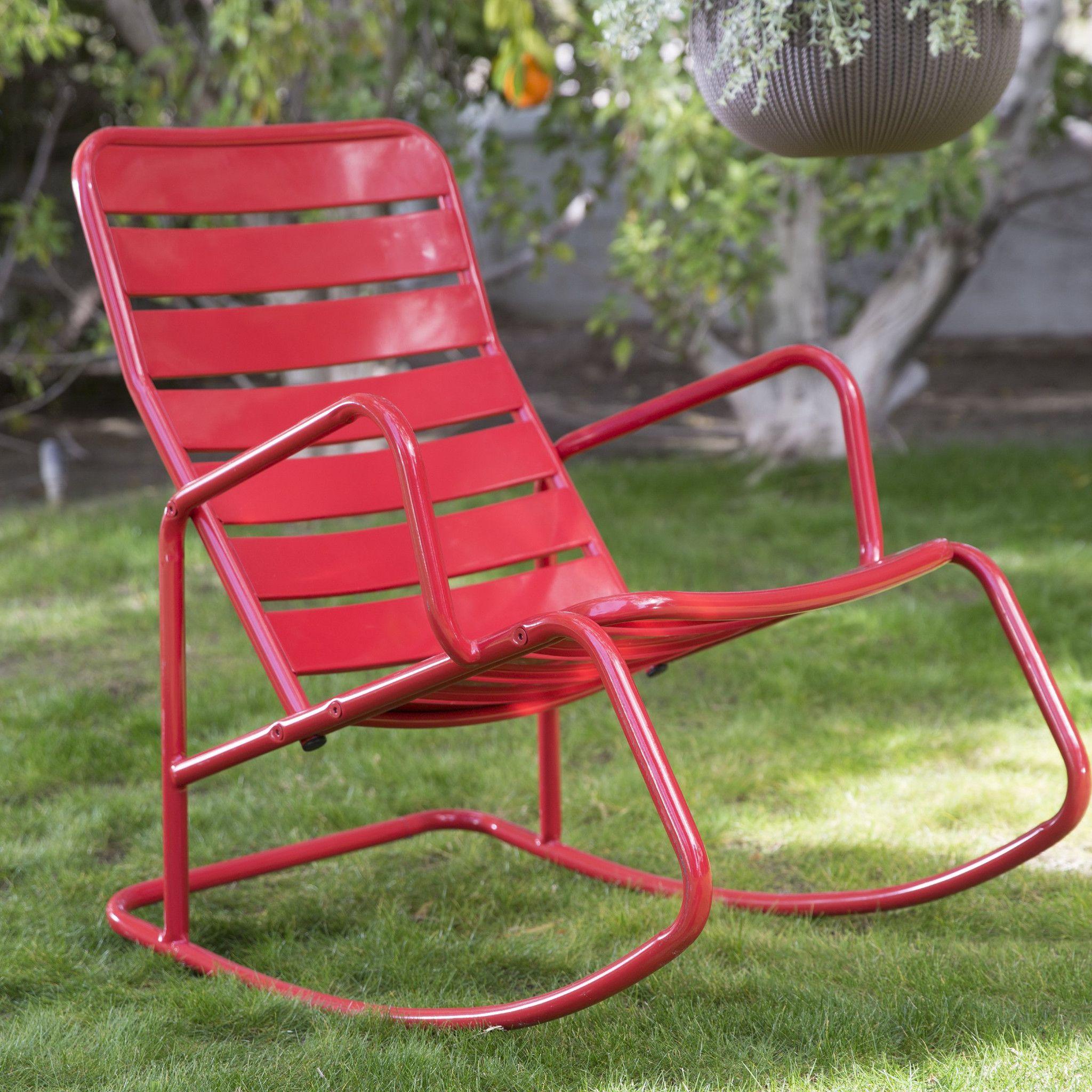Red Metal Slat Outdoor Patio / Garden Rocking Chair