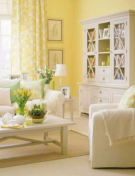 Httpcurtainscolorswhatcolorcurtainsgowithyellowwalls Enchanting Yellow Living Rooms Decorating Design