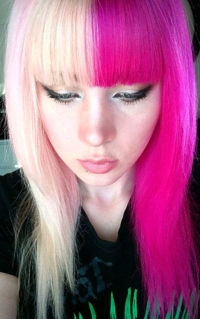 White And Hot Pink Half And Half Hair Multicolored Hair Half And Half Hair Two Toned Hair
