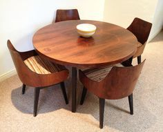 Mid Century Modern Round Dining Set (Round Dining Table + Four Dining Chairs)  This Mid Century Dining Set Was Produced In The By Lex.