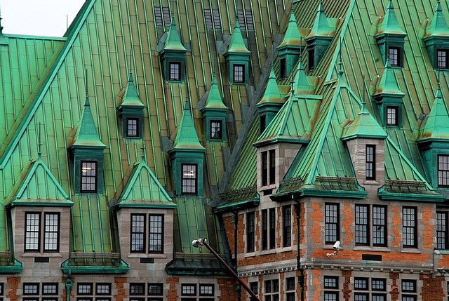 Green Dormers Oxidized Copper Roof Of The Train Station In Quebec City Places Beautiful Buildings Beautiful Places