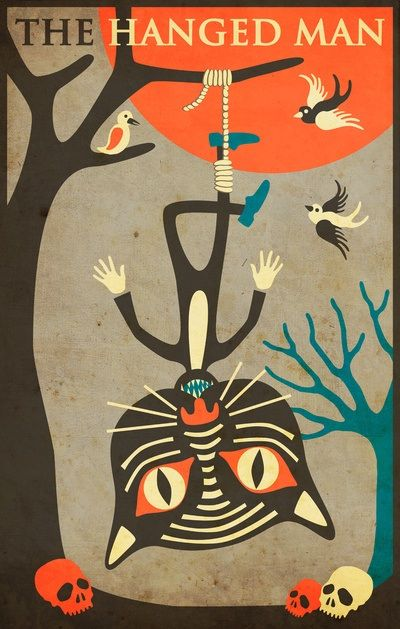 Tarot Card Cat: The Hanged Man by Jazzberry Blue.