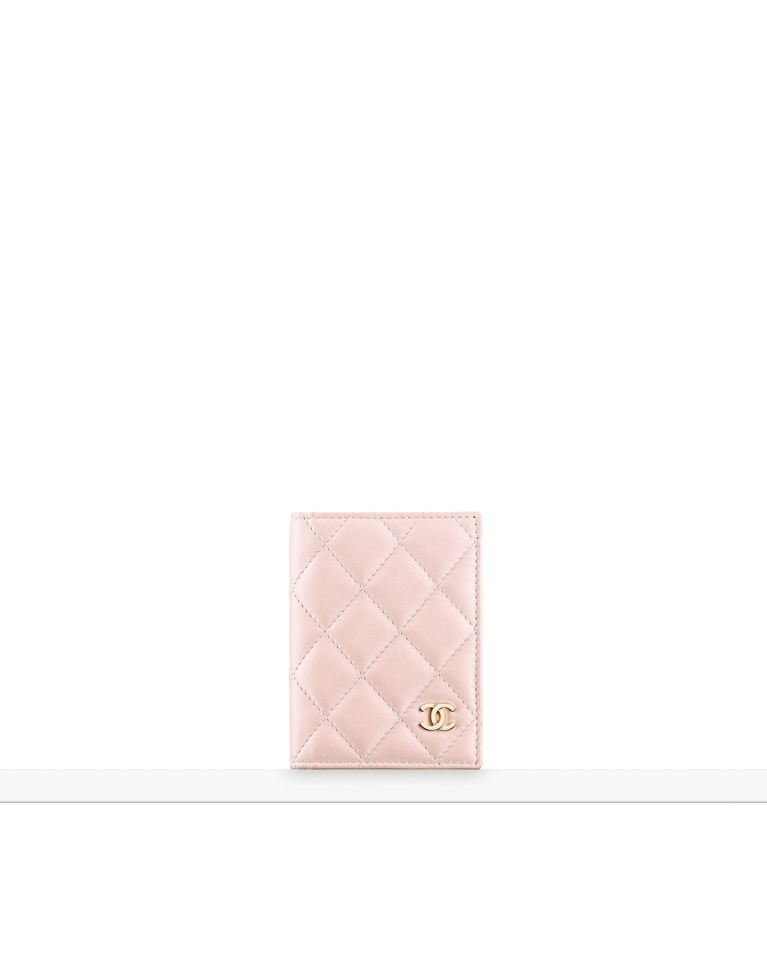 Card holder Cruise 2016 17 lambskin & gold tone metal light pink