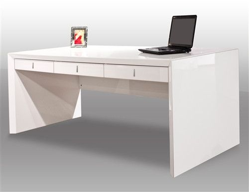 Ultra Modern White Lacquer Executive Desk With Three Drawers Modern White Desk Executive Desk Modern Office Desk