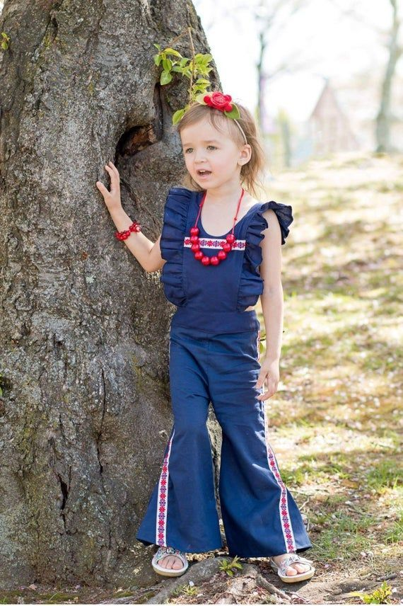 Boho Ruffle Pant Romper  Boho Baby Clothes  Toddler Girl Clothes  Bohemian  Bell Bottom