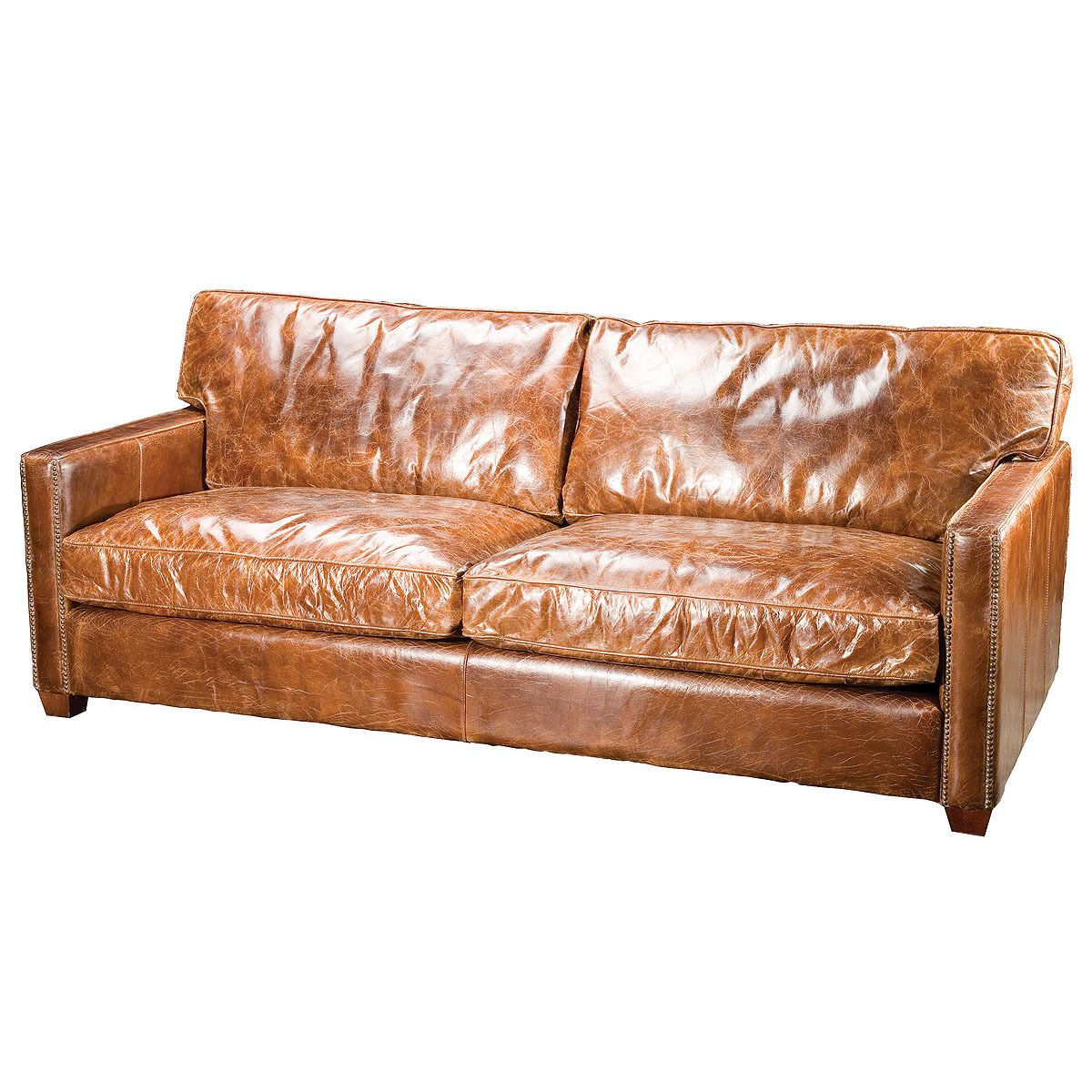 Larkin 3 Seater Vintage Cigar Distressed Leather Sofa In 2020